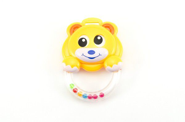 Chrastítko medvídek plast asst 2 barvy na kartě 16x21cm 3m+