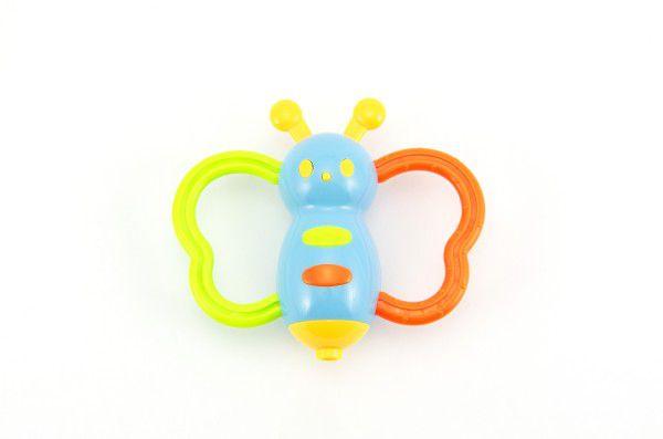 Chrastítko motýl plast 10cm asst 3 barvy na kartě 3m+