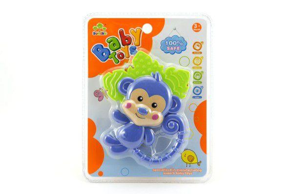 Kousátko/chrastítko opice plast 14cm na kartě 3m+