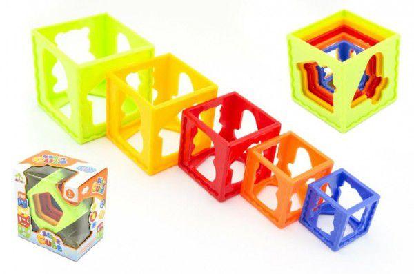 Teddies Kubus pyramida skládanka hranatá plast 5ks v krabičce