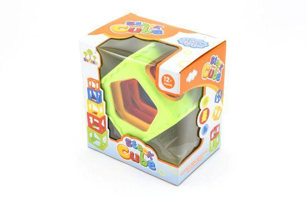 Kubus pyramida skládanka hranatá plast 5ks v krabičce 15x16x10cm 12m+