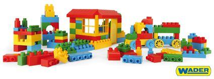 Kostky stavebnice pro kluky plast 102ks v papírové krabici 23x30x23cm Wader 12m+