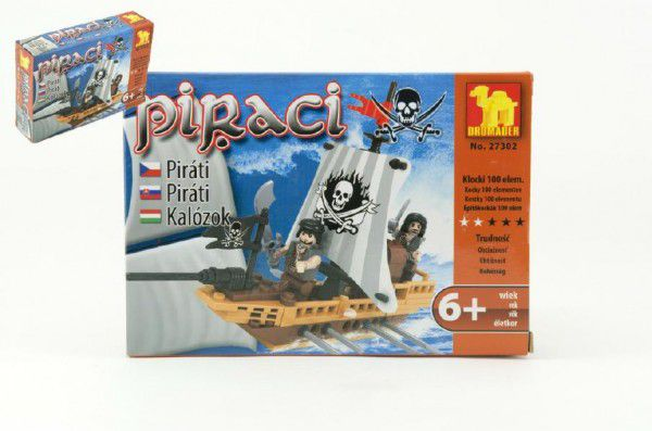 Stavebnice Dromader Piráti 27302 100ks v krabici 18,5x13x4,5cm
