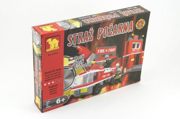 Stavebnice Dromader Hasiči Auto 21602 301ks v krabici 35x25x5,5cm