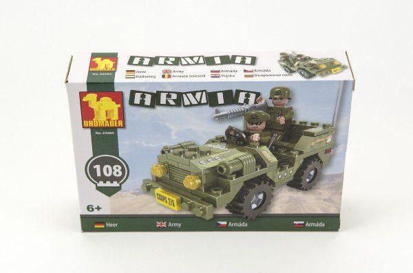 Stavebnice Dromader Vojáci Auto 22404 108ks v krabici 22x15x4,5cm