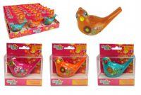 Píšťalka vodní ptáček se šňůrkou plast 10cm asst 4 barvy v krabičce 18ks v boxu