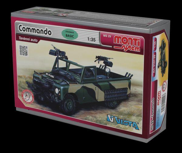 Stavebnice Monti 29 Commando Land Rover 1:35 v krabici 22x15x6cm