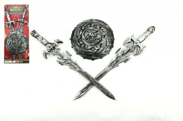 Rytířská sada 2 meče a štít plast 43cm na kartě