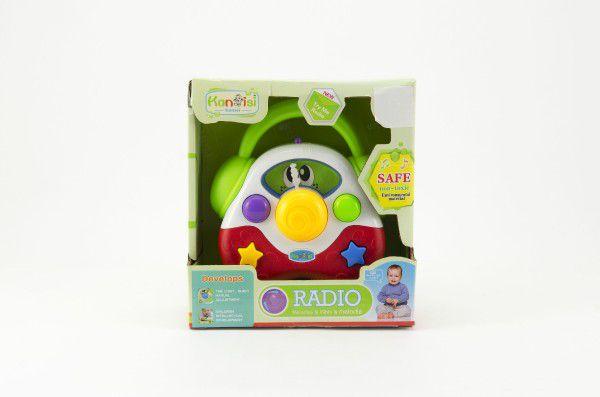 Rádio plast 14cm na baterie se zvukem se světlem v krabičce