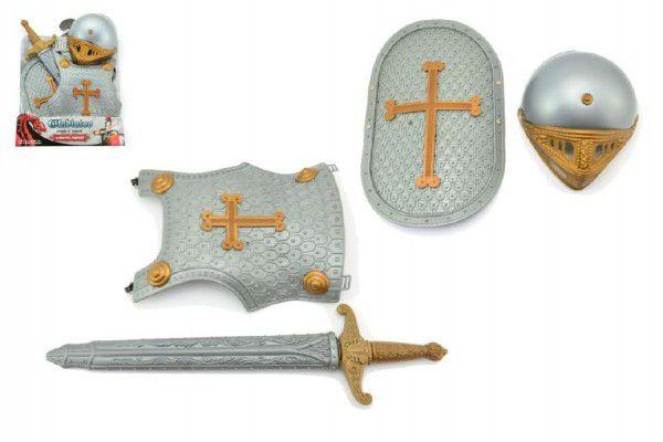 Rytířská sada meč štíty přilba plast 40x53cm na kartě