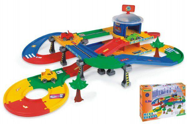 Wader Kid Cars 3D Garáž 2 patra s cestou plast 5,5m v krabici 79x54x14cm 1 ks