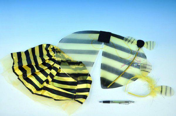 Křídla včelka karneval 40cm se sukýnkou, hůlkou a čelenkou v sáčku