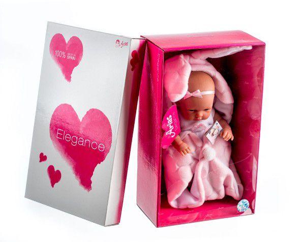 Panenka/miminko Arias 33cm pevné tělo v zavinovačce v krabici