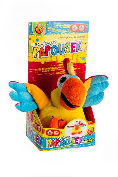 DJ mluvící papoušek rapper plyš 25cm na baterie v krabici