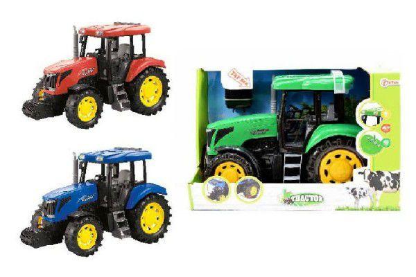 Traktor plast 28cm asst 3 barvy na baterie se zvukem se světlem na setrvačník v krabici