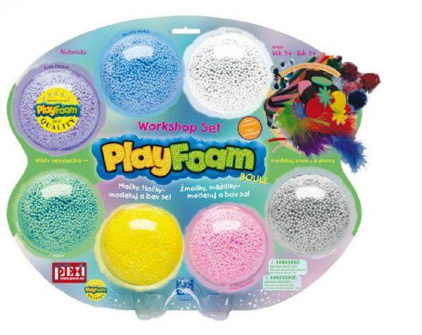 PlayFoam Modelína/Plastelína kuličková s doplňky 7 barev na kartě 34x28x4cm