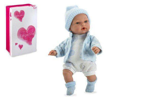 Panenka/miminko Hanne 28cm modré měkké tělo se zvukem na baterie v krabici