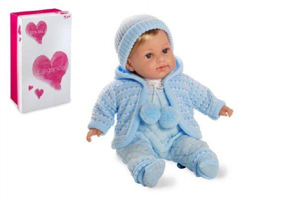 Panenka/miminko Elian 42cm modré měkké tělo se zvukem na baterie v krabici