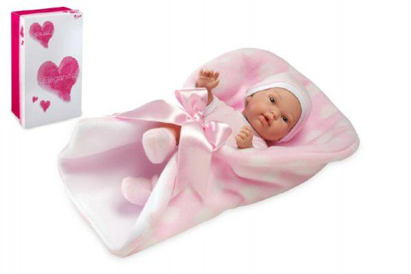 Panenka/miminko Pillines 26cm růžové tvrdé tělo v zavinovačce v krabici