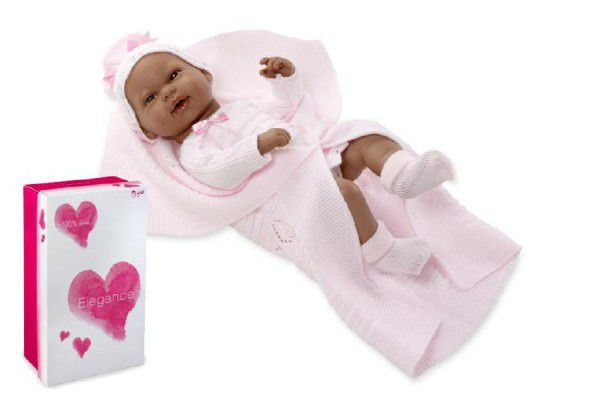 Panenka/miminko 42cm černoška tvrdé tělo v krabici