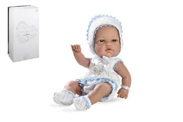 Panenka/miminko 33cm modré tvrdé tělo Swarovski Elements v krabici