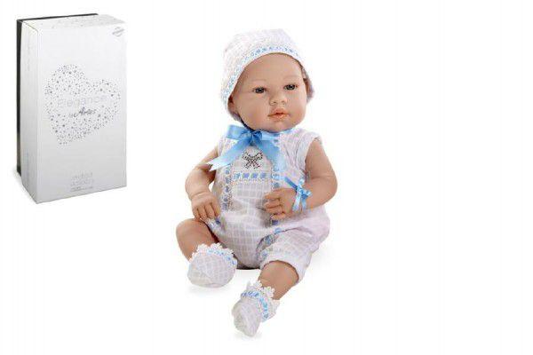 Panenka miminko 42cm modré tvrdé tělo Swarovski Elements v krabici