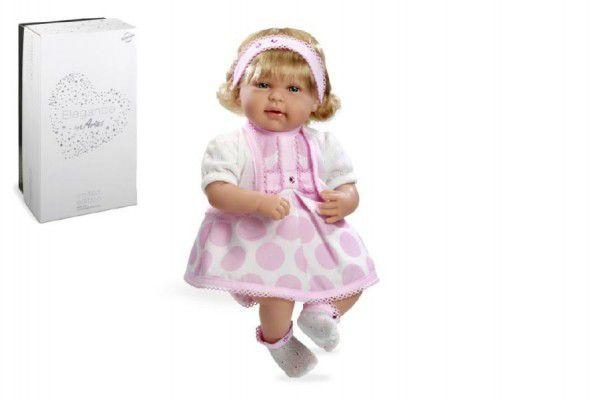 Panenka 45cm růžová měkké tělo se zvukem na baterie Swarovski Elements v krabici