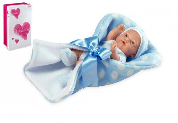 Panenka/miminko Pillines 26cm modré tvrdé tělo v zavinovačce v krabici