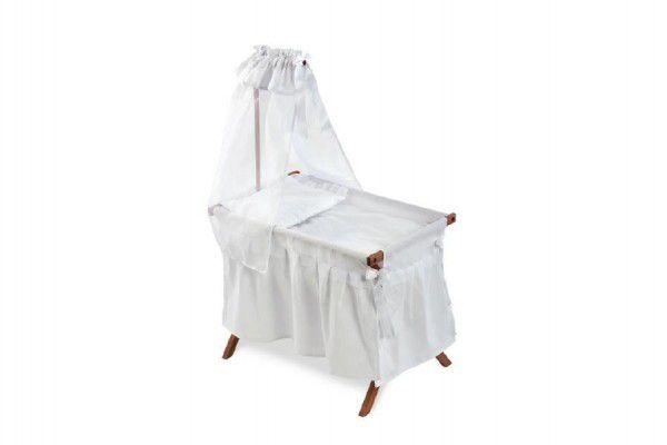 Postýlka pro panenku s nebesy bílá dřevo 40x63x95cm v krabici