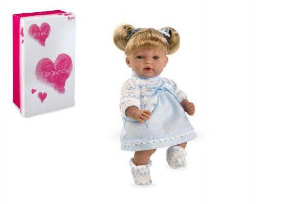 Panenka/miminko Andrea 28cm modré měkké tělo se zvukem na baterie v krabici