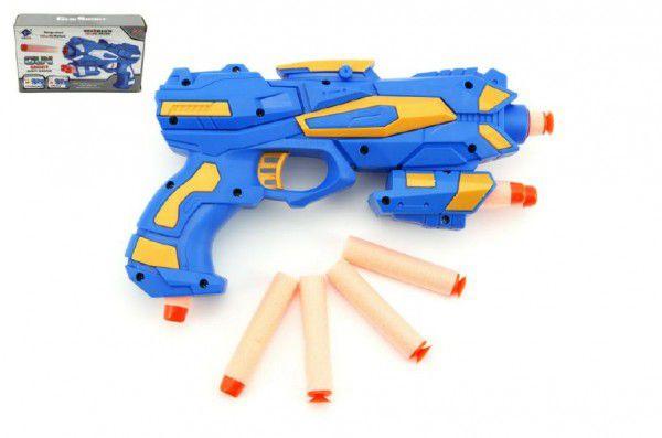 Pistole na pěnové náboje 8ks plast 20cm asst 2 barvy v krabici 21x12cm