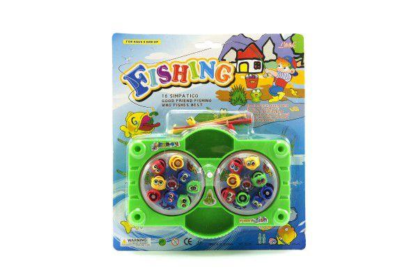 Hra ryby/rybář 16ks + 2 pruty plast 17x12cm na natažení asst 3 barvy na kartě