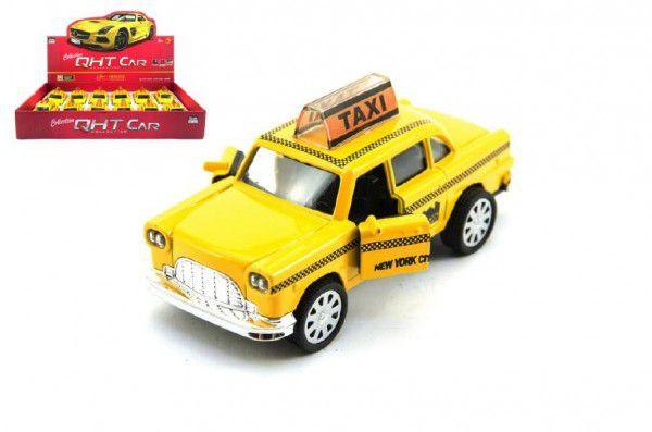 Teddies Auto taxi kov 11cm na zpětné natažení na baterie se světlem se zvukem