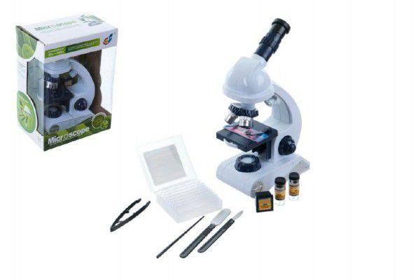 Mikroskop s doplňky plast 22cm na baterie v krabici