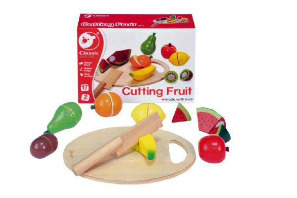 Teddies 54372 Ovoce krájecí s prkénkem dřevo 17ks 21,5x15x7cm