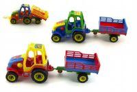 Traktor s vlekem plast 37cm asst 3 barvy v síťce
