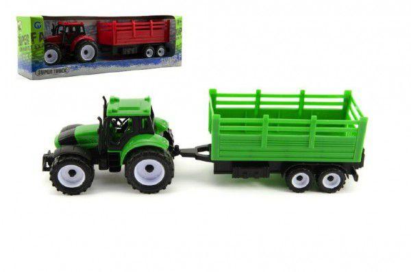 Teddies Traktor s přívěsem plast 28cm