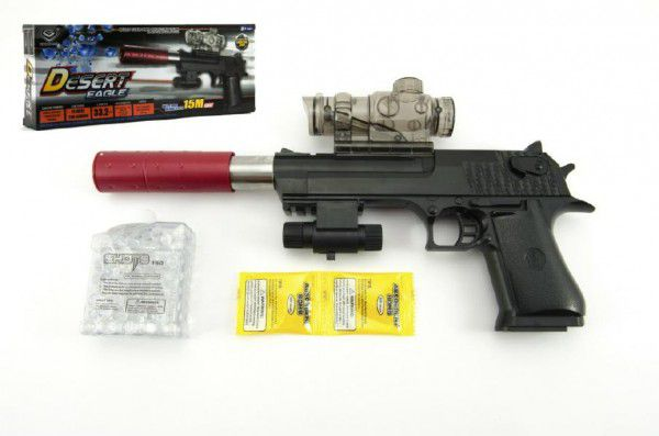 Teddies pistole plast/kov 33cm na vodní kuličky náboje na baterie se světlem v krabici 34x13x4cm