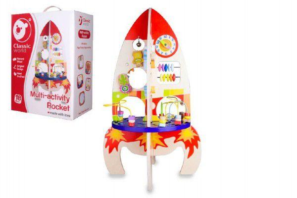 Teddies 54992 Hrací stůl dřevo edukační raketa 37x62x37cm pro nejmenší