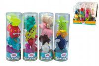 Stříkací figurky zvířátka/dopravní prostředky do vany 4ks gumová asst 4 druhy v tubě