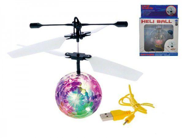 Vrtulníková koule/míček Diamond 11cm svítící reagující na pohyb ruky s USB kabelem v krabičce