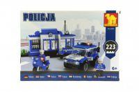 Stavebnica Dromader Policie Stanice + Auto + Motorka 223ks v krabici 35x25x6cm