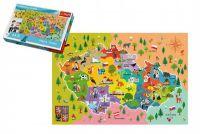 Vzdělávací puzzle mapa České republiky 44 dílků 60x40cm v krabici 33x23x6cm