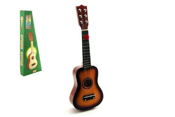 Teddies Kytara plast s motivem dřevo 53cm v krabici