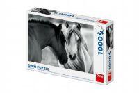 Puzzle koně černobílé  66x47cm 1000 dílků v krabici 32x23x7,5cm