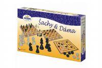 Teddies Šachy a dáma dřevo společenská hra