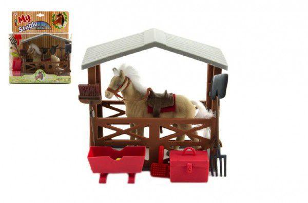 Teddies Kůň fliška se stájí a doplňky plast v krabici 23x27x9cm