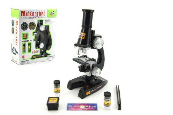 Teddies Mikroskop s doplňky plast 21cm na baterie se světlem v krabici 8+