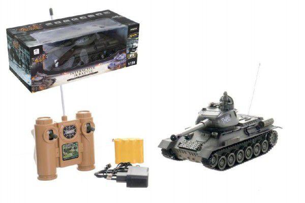 Teddies 58798 Tank RC plast 33cm T-34 27MHz na baterie+dobíjecí pack se zvukem a světlem v krabici 40x15x19cm