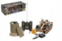 Teddies Tank RC plast 33cm + otočná věž na baterie+dobíjecí pack se zvukem a světlem v krabici 51x17x19cm